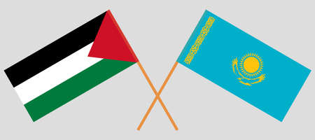 Crossed flags of Palestine and Kazakhstan