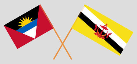 Crossed flags of Antigua and Barbuda and Brunei 向量圖像