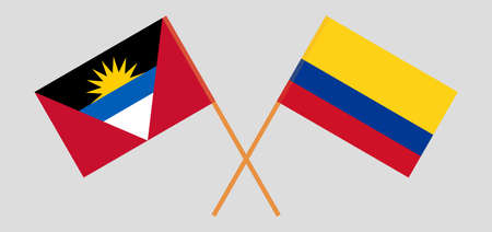 Crossed flags of Antigua and Barbuda and Colombia 向量圖像