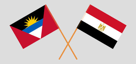 Crossed flags of Egypt and Antigua and Barbuda 向量圖像