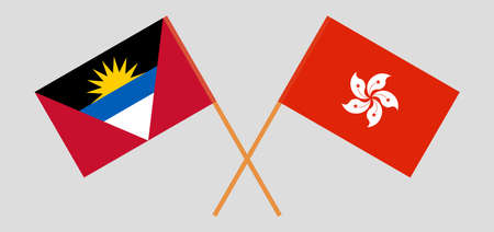 Crossed flags of Antigua and Barbuda and Hong Kong