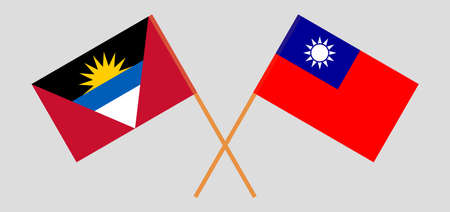 Crossed flags of Antigua and Barbuda and Taiwan
