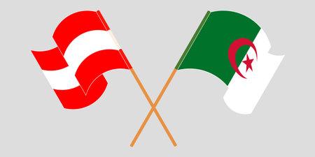 Crossed flags of Algeria and Austria