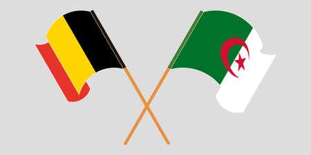 Crossed flags of Algeria and Belgium