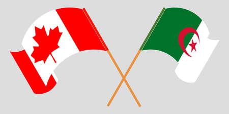 Crossed flags of Algeria and Canada