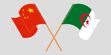 Crossed flags of Algeria and China