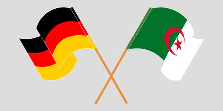 Crossed flags of Algeria and Germany