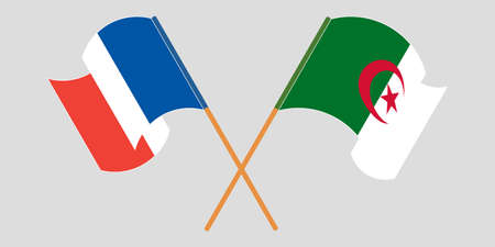 Crossed flags of Algeria and France 向量圖像