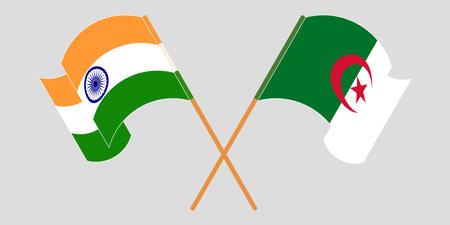 Crossed flags of Algeria and India 向量圖像