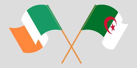 Crossed flags of Algeria and Ireland