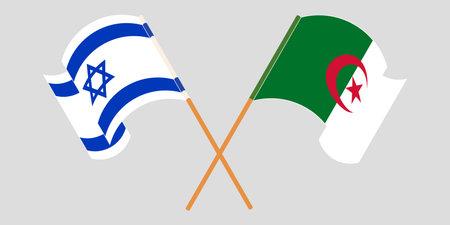 Crossed flags of Algeria and Israel 向量圖像