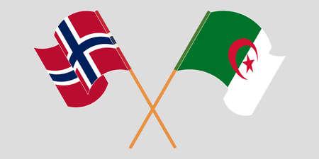 Crossed flags of Algeria and Norway 向量圖像