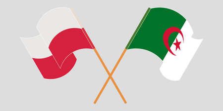 Crossed flags of Algeria and Poland 向量圖像