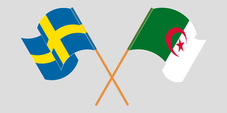 Crossed flags of Algeria and Sweden 向量圖像