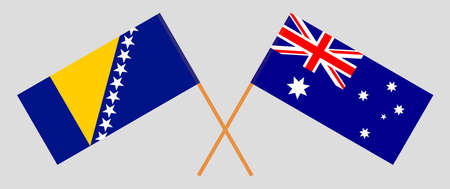 Crossed flags of Bosnia and Herzegovina and Australia 向量圖像
