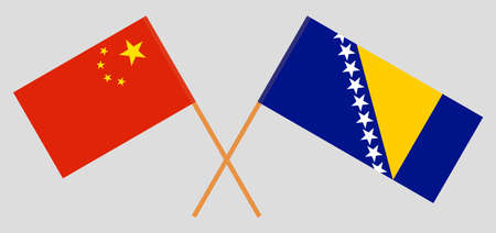 Crossed flags of China and Bosnia and Herzegovina 向量圖像