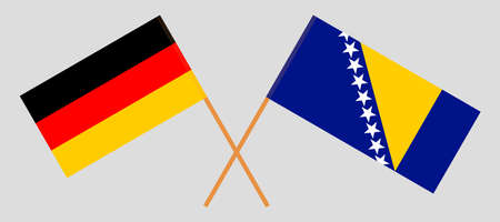Crossed flags of Bosnia and Herzegovina and Germany 向量圖像