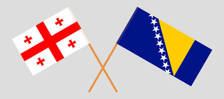 Crossed flags of Bosnia and Herzegovina and Georgia 向量圖像