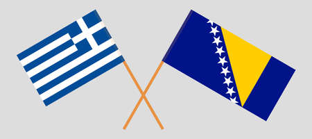 Crossed flags of Bosnia and Herzegovina and Greece