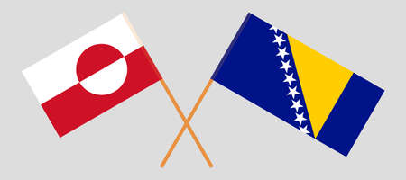 Crossed flags of Bosnia and Herzegovina and Greenland 向量圖像