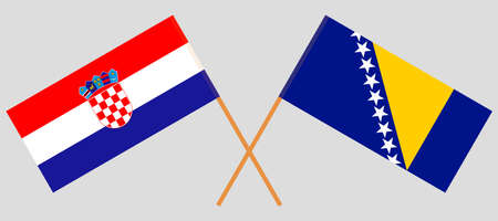 Crossed flags of Croatia and Bosnia and Herzegovina 向量圖像