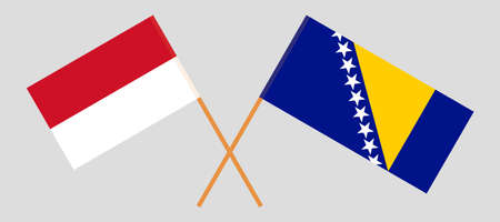 Crossed flags of Bosnia and Herzegovina and Indonesia 向量圖像
