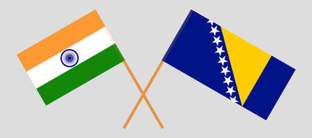 Crossed flags of India and Bosnia and Herzegovina