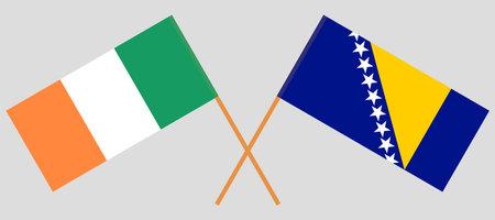 Crossed flags of Ireland and Bosnia and Herzegovina 向量圖像