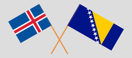 Crossed flags of Bosnia and Herzegovina and Iceland. 向量圖像