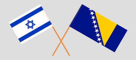 Crossed flags of Israel and Bosnia and Herzegovina