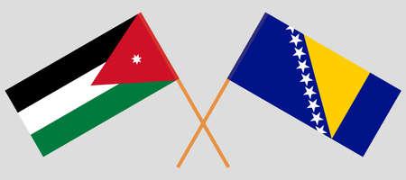 Crossed flags of Bosnia and Herzegovina and Jordan