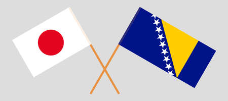 Crossed flags of Bosnia and Herzegovina and Japan