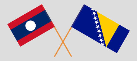 Crossed flags of Laos and Bosnia and Herzegovina