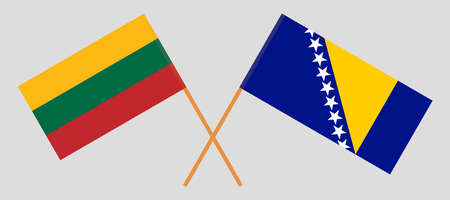 Crossed flags of Bosnia and Herzegovina and Lithuania