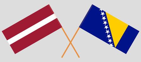 Crossed flags of Bosnia and Herzegovina and Latvia