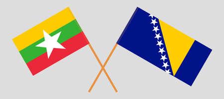 Crossed flags of Myanmar and Bosnia and Herzegovina 向量圖像