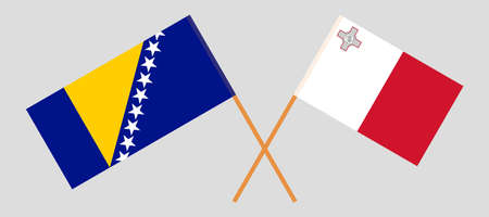 Crossed flags of Bosnia and Herzegovina and Malta