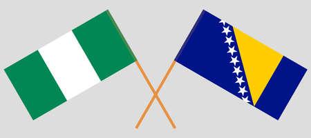 Crossed flags of Bosnia and Herzegovina and Nigeria 向量圖像