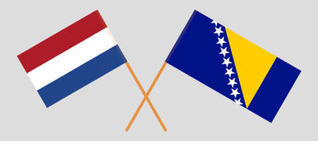 Crossed flags of Netherlands and Bosnia and Herzegovina