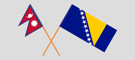 Crossed flags of Bosnia and Herzegovina and Nepal 向量圖像