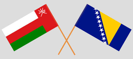 Crossed flags of Bosnia and Herzegovina and Oman