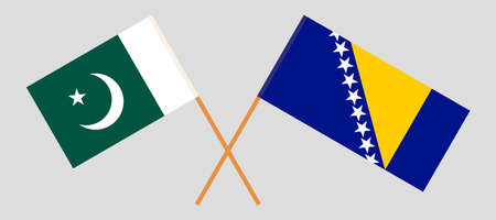 Crossed flags of Bosnia and Herzegovina and Pakistan 向量圖像