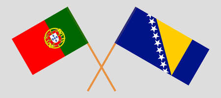 Crossed flags of Bosnia and Herzegovina and Portugal 向量圖像