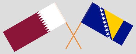 Crossed flags of Qatar and Bosnia and Herzegovina 向量圖像