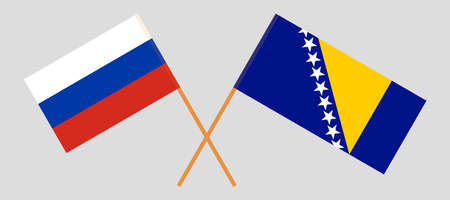 Crossed flags of Bosnia and Herzegovina and Russia 向量圖像
