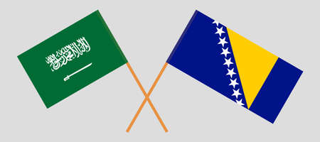Crossed flags of Bosnia and Herzegovina and the Kingdom of Saudi Arabia