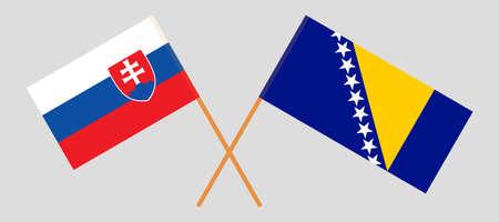 Crossed flags of Bosnia and Herzegovina and Slovakia