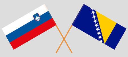 Crossed flags of Bosnia and Herzegovina and Slovenia 向量圖像