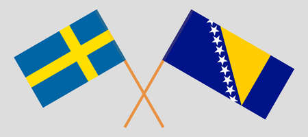Crossed flags of Bosnia and Herzegovina and Sweden 向量圖像