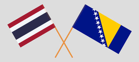 Crossed flags of Thailand and Bosnia and Herzegovina
